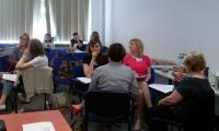 Uczestnicy szkolenia Podejrzenie przemocy domowej wobec dziecka - diagnoza i interwencja w czasie zajęć warsztatowych, Toruń, 19.05.2017 r.,  fot. Biuro Wsparcia Rodziny i Przeciwdziałania Przemocy;