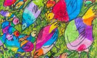 """Autorem kompozycji ,,Rodzina kurczaków"""", którą będzie można wylicytować w Toruniu,  jest 7-letni Sidratul Muntaha Nuha, fot. Łukasz Piecyk"""