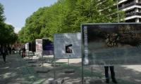 """Otwarcie wystawy zdjęć Daniela Pacha """"Okiem orła"""" na deptaku przy Paseo de Pablo Sarasate, fot. Urząd Marszałkowski"""