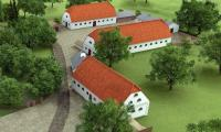 Rekonstrukcja zabudowań gospodarczych dawnego folwarku w Kłóbce (na pierwszym planie spichlerz)